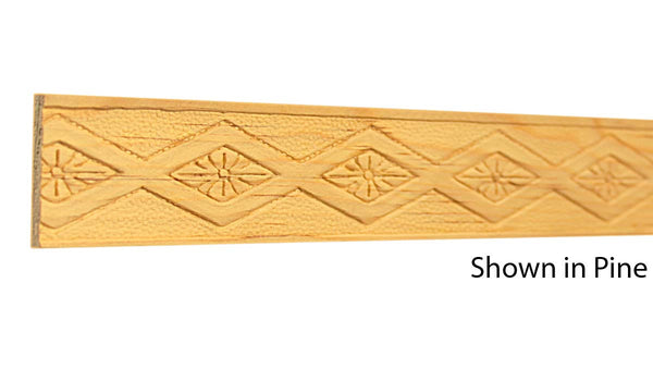 "Profile view of a decorative pine embossed molding, product number PIDE155 1/4""x1-3/8"" Pine $2.52/ft. sold by American Wood Moldings"