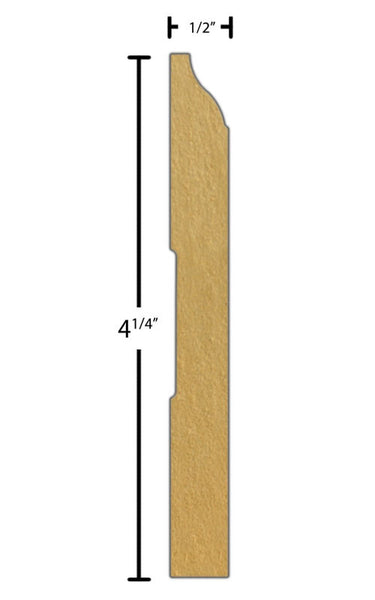 "Side view of a MDF Base molding, product number PMBA405 1/2"" x 4-1/4"" - $0.72/ft. sold by American Wood Moldings"
