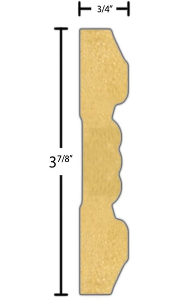 "Side view of a MDF Chair Rail molding, product number PMCA370 3/4""x3-7/8"" $2.32/ft. sold by American Wood Moldings"