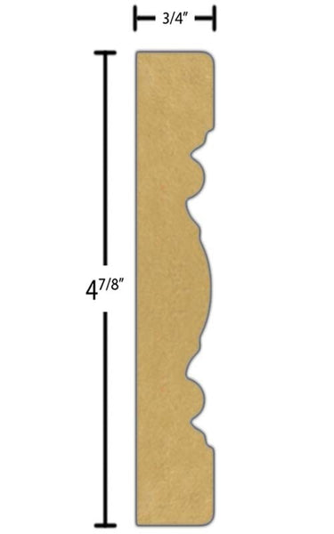 "Side view of a flexible MDF Chair Rail molding, product number PMCA410 3/4""x4-7/8"" $2.68/ft. sold by American Wood Moldings"