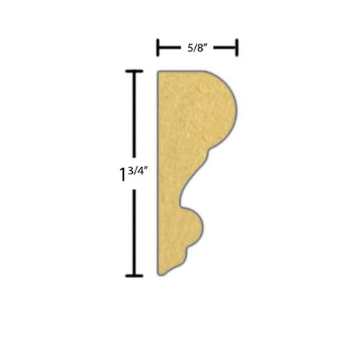 "Side view of a MDF Panel molding, product number PMCH110 5/8""x1-3/4"" $0.94/ft. sold by American Wood Moldings"
