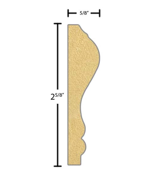 "Side view of a MDF Chair Rail molding, product number PMCH220 5/8""x2-5/8"" $0.68/ft. sold by American Wood Moldings"