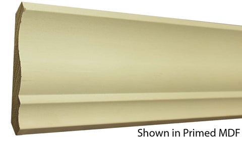 "Profile view of a MDF Crown molding, product number PMCR410 5/8""x4-1/4"" $0.92/ft. sold by American Wood Moldings"