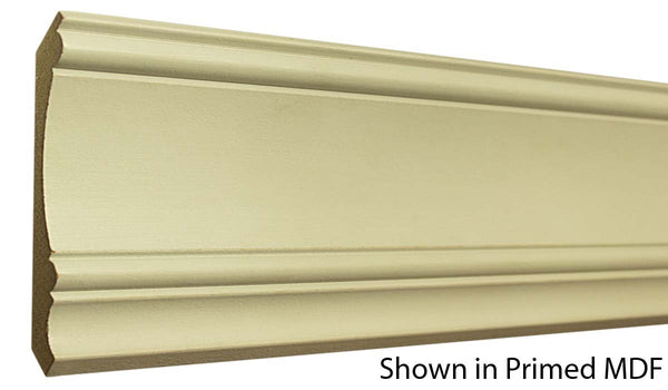 "Profile view of a MDF Crown molding, product number PMCR515 11/16""x5-1/4"" $1.36/ft. sold by American Wood Moldings"
