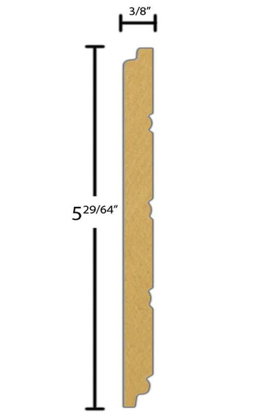 "Side View of Wainscot Molding, product number WS-515-012-1-PM - 3/8"" x 5-15/32"" Primed MDF Wainscot - $1.10/ft sold by American Wood Moldings"