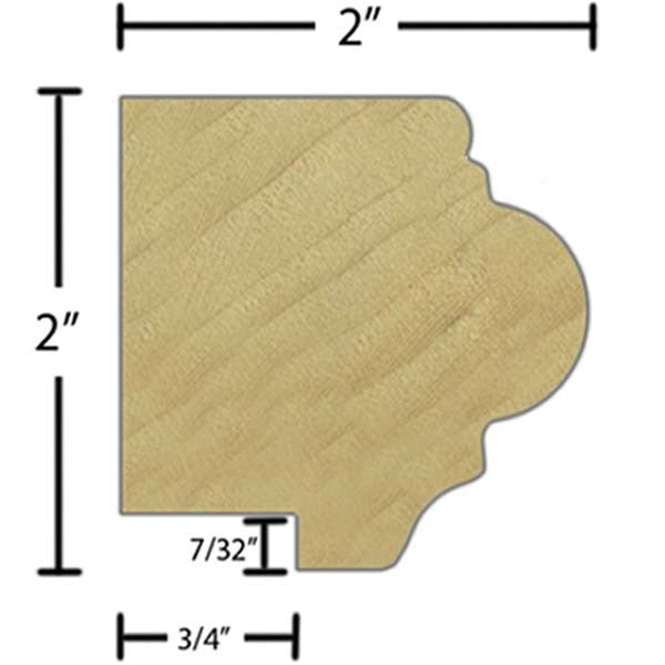 "Side view of a decorative poplar carved molding, product number PODC115 2""x2"" Poplar $7.84/ft. sold by American Wood Moldings"