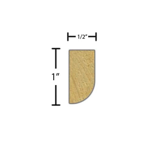 "Side view of a decorative poplar dentil molding, product number PODD115 1/2""x1"" Poplar $1.84/ft. sold by American Wood Moldings"