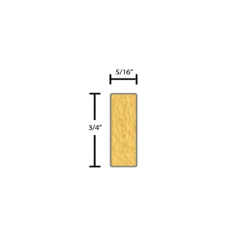 "Side view of a decorative poplar dentil molding, product number PODD130 5/16""x3/4"" Poplar $1.40/ft. sold by American Wood Moldings"