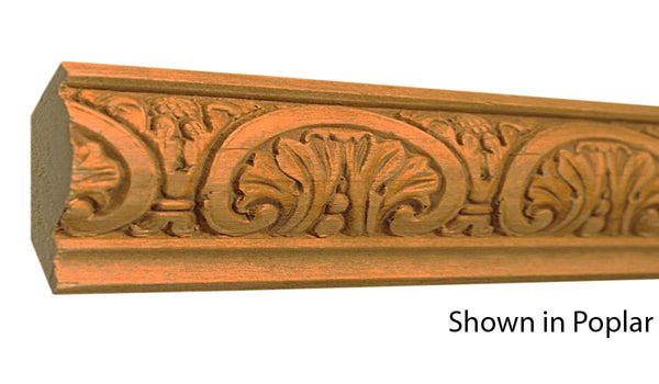 "Profile view of a decorative poplar embossed molding, product number PODE125 7/8""x2-1/2"" Poplar $5.36/ft. sold by American Wood Moldings"