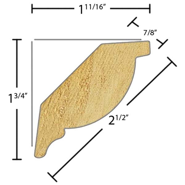"Side view of a decorative poplar embossed molding, product number PODE125 7/8""x2-1/2"" Poplar $5.36/ft. sold by American Wood Moldings"