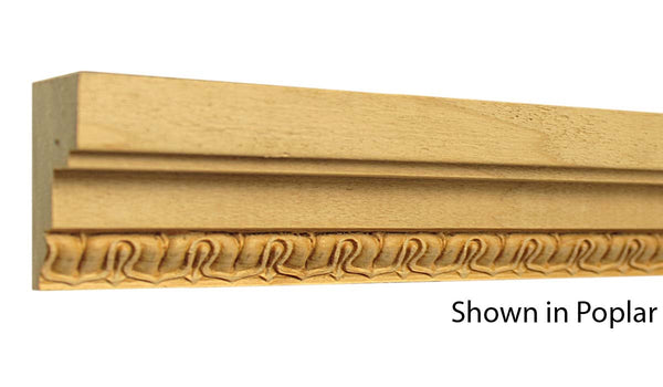 "Profile view of a decorative poplar embossed molding, product number PODE135 1-1/16""x2-1/16"" Poplar $5.40/ft. sold by American Wood Moldings"
