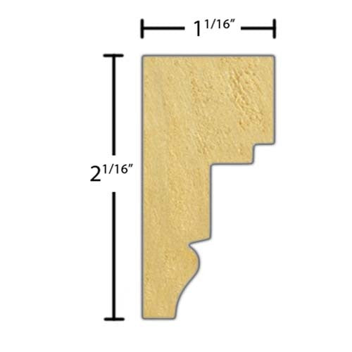"Side view of a decorative poplar embossed molding, product number PODE135 1-1/16""x2-1/16"" Poplar $5.40/ft. sold by American Wood Moldings"