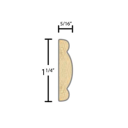 "Side View of Decorative Embossed Molding, product number DE-108-010-4-PO - 5/16"" x 1-1/4"" Poplar Decorative Embossed Molding - $2.32/ft sold by American Wood Moldings"