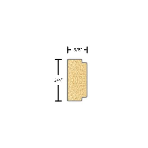"Side View of Decorative Embossed Molding, product number DE-024-012-7-PO - 3/8"" x 3/4"" Poplar Decorative Embossed Molding - $1.40/ft sold by American Wood Moldings"