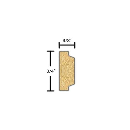 "Side view of a decorative poplar embossed molding, product number PODE290 3/8""x3/4"" Poplar $1.40/ft. sold by American Wood Moldings"