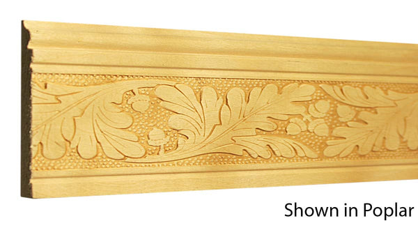 "Profile View of Decorative Embossed Molding, product number DE-300-012-1-PO - 3/8"" x 3"" Poplar Decorative Embossed Molding - $5.52/ft sold by American Wood Moldings"