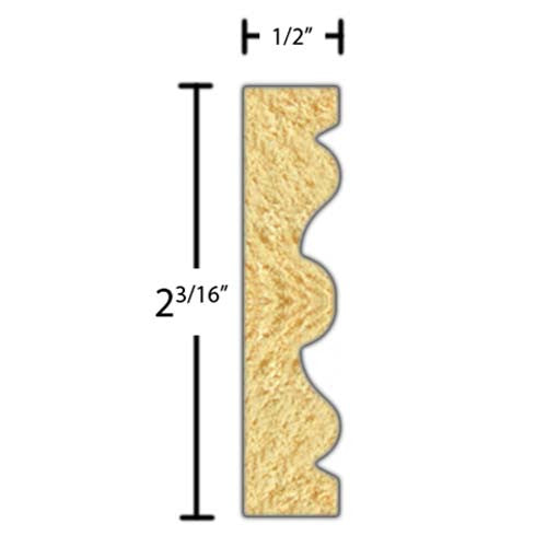 "Side view of a decorative poplar embossed molding, product number PODE225 1/2""x2-3/16"" Poplar $4.04/ft. sold by American Wood Moldings"