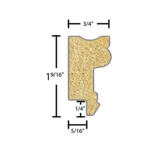 "Side view of a decorative poplar embossed molding, product number PODE250 3/4""x1-9/16"" Poplar $2.88/ft. sold by American Wood Moldings"