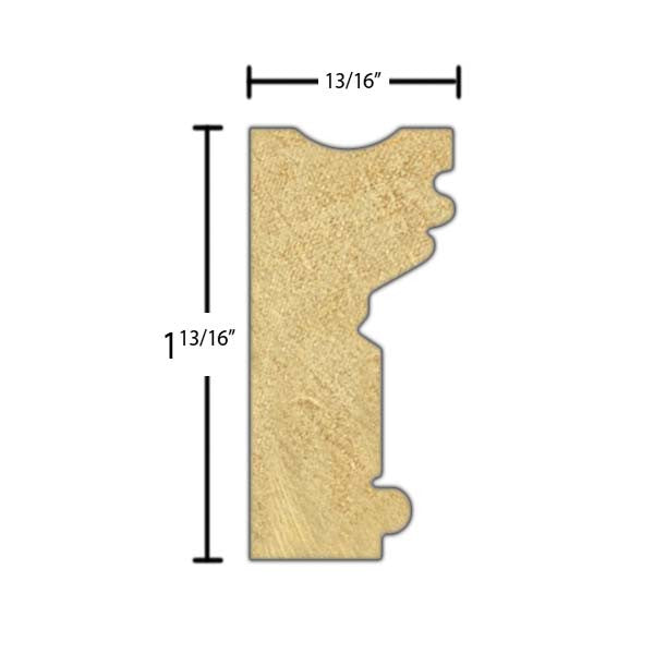 "Side view of a decorative poplar embossed molding, product number PODE255 13/16""x1-13/16"" Poplar $3.36/ft. sold by American Wood Moldings"