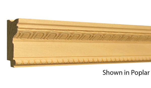 "Profile view of a decorative poplar embossed molding, product number PODE265 13/16""x1-13/16"" Poplar $3.36/ft. sold by American Wood Moldings"