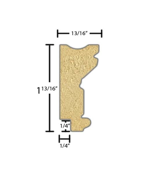 "Side view of a decorative poplar embossed molding, product number PODE265 13/16""x1-13/16"" Poplar $3.36/ft. sold by American Wood Moldings"