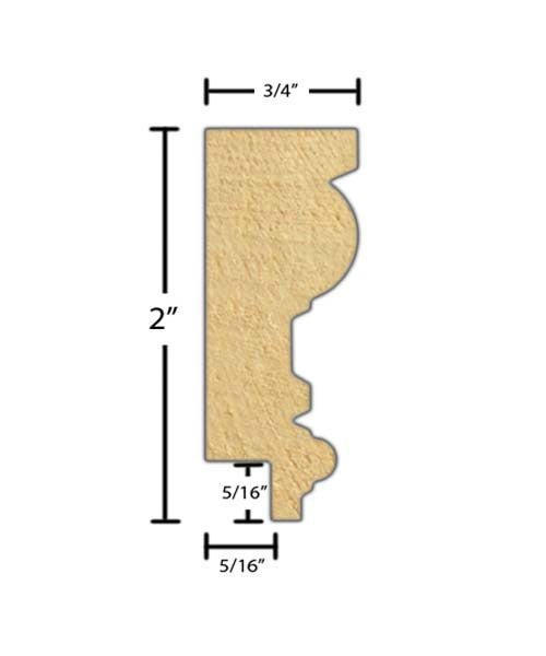 "Side view of a decorative poplar embossed molding, product number PODE270 3/4""x2"" Poplar $3.68/ft. sold by American Wood Moldings"