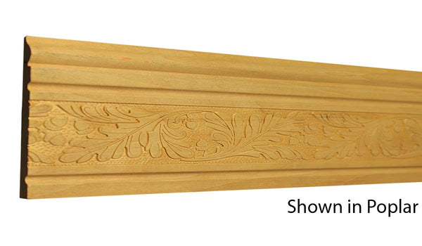 "Profile view of a decorative poplar embossed molding, product number PODE280 3/8""x4"" Poplar $7.36/ft. sold by American Wood Moldings"