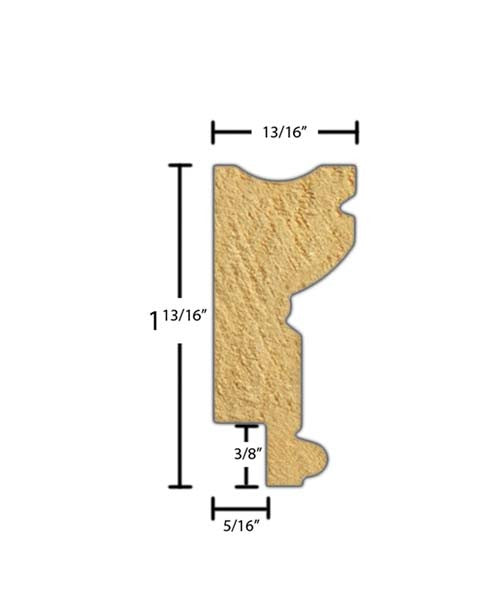 "Side view of a decorative poplar embossed molding, product number PODE285 13/16""x1-13/16"" Poplar $3.36/ft. sold by American Wood Moldings"