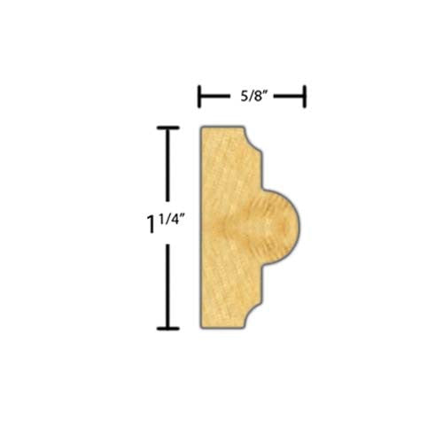 "Side view of a decorative poplar embossed molding, product number PODE295 5/8""x1-1/4"" Poplar $2.32/ft. sold by American Wood Moldings"