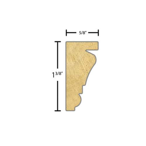"Side view of a decorative poplar embossed molding, product number PODE300 5/8""x1-3/8"" Poplar $2.52/ft. sold by American Wood Moldings"