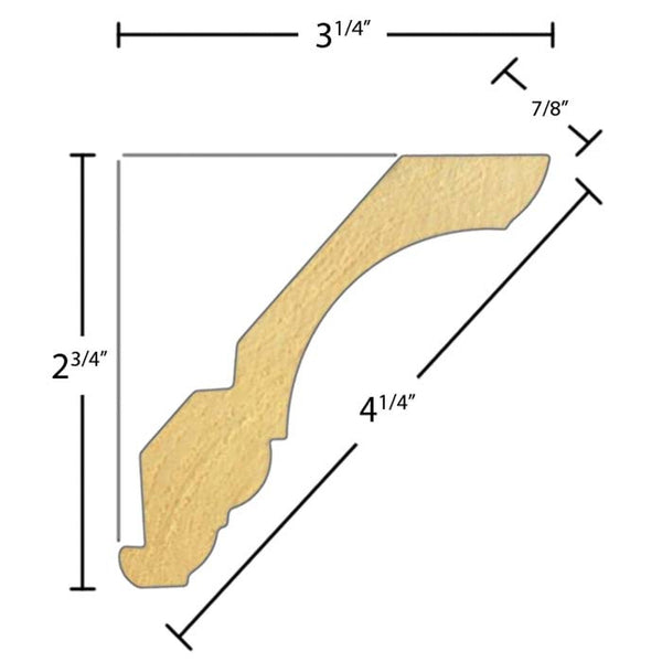 "Side View of Decorative Embossed Molding, product number DE-408-028-1-PO - 7/8"" x 4-1/4"" Poplar Decorative Embossed Molding - $7.84/ft sold by American Wood Moldings"
