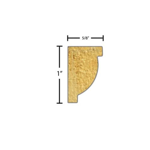 "Side view of a decorative poplar embossed molding, product number PODE345 5/8""x1"" Poplar $1.84/ft. sold by American Wood Moldings"