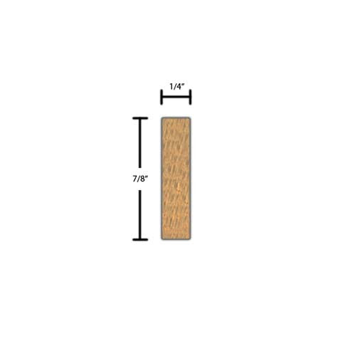 "Side view of a decorative red oak carved molding, product number RODC105 1/4""x7/8"" Red Oak $3.88/ft. sold by American Wood Moldings"