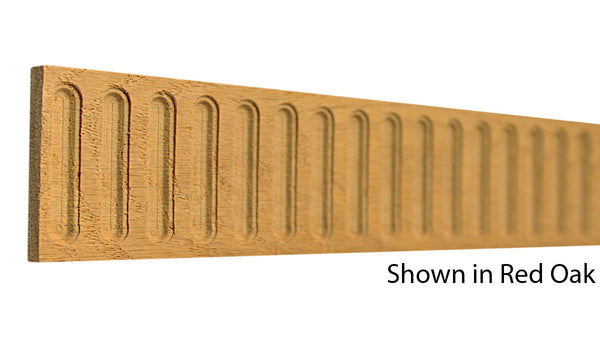"Profile view of a decorative red oak carved molding, product number RODC145 1/4""x2"" Red Oak $8.80/ft. sold by American Wood Moldings"