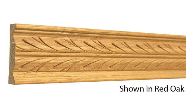 "Profile view of a decorative red oak carved molding, product number RODC190 5/8""x2-1/4"" Red Oak $9.92/ft. sold by American Wood Moldings"