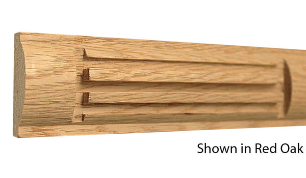 "Profile view of a decorative red oak carved molding, product number RODC230 3/4""x1-15/16"" Red Oak $8.52/ft. sold by American Wood Moldings"
