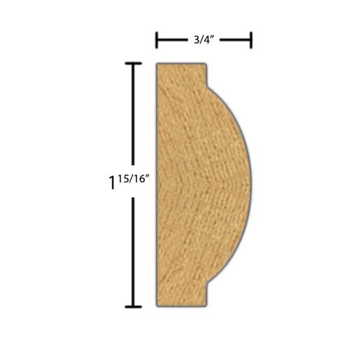 "Side view of a decorative red oak carved molding, product number RODC230 3/4""x1-15/16"" Red Oak $8.52/ft. sold by American Wood Moldings"