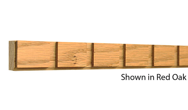 "Profile View of Decorative Dentil Molding, product number DD-100-024-1-RO - 3/4"" x 1"" Red Oak Decorative Dentil Molding - $2.56/ft sold by American Wood Moldings"