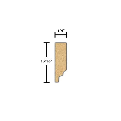 "Side View of Decorative Dentil Molding, product number DD-026-008-1-RO - 1/4"" x 13/16"" Red Oak Decorative Dentil Molding - $2.08/ft sold by American Wood Moldings"