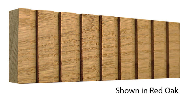 "Profile View of Decorative Dentil Molding, product number DD-212-028-1-RO - 7/8"" x 2-3/8"" Red Oak Decorative Dentil Molding - $7.12/ft sold by American Wood Moldings"