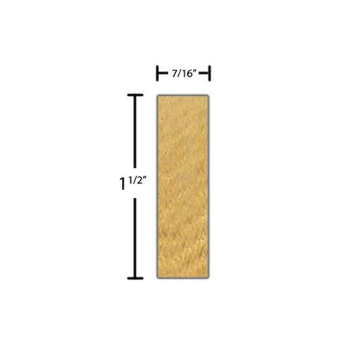"Side view of a decorative red oak dentil molding, product number RODD160 7/16""x1-1/2"" Red Oak $3.88/ft. sold by American Wood Moldings"