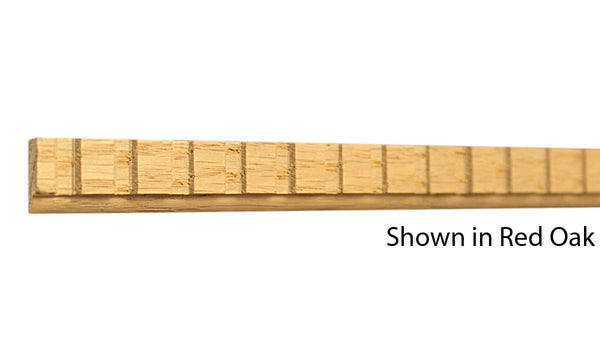 "Profile View of Decorative Dentil Molding, product number DD-020-008-2-RO - 1/4"" x 5/8"" Red Oak Decorative Dentil Molding - $1.60/ft sold by American Wood Moldings"