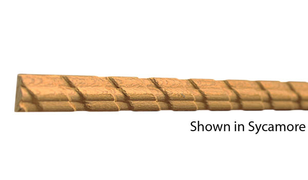 "Profile View of Decorative Carved Molding, product number DC-016-008-4-SY - 1/4"" x 1/2"" Sycamore Decorative Carved Molding - $2.48/ft sold by American Wood Moldings"