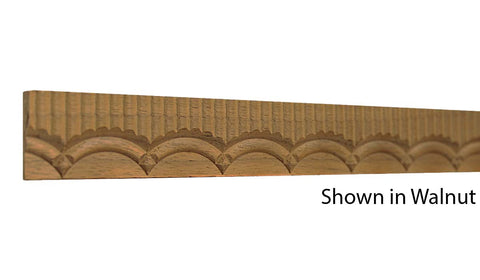 "Profile view of a decorative walnut carved molding, product number WADC110 3/16""x1-1/16"" Walnut $6.56/ft. sold by American Wood Moldings"