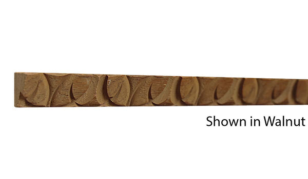 "Profile view of a decorative walnut carved molding, product number WADC115 5/8""x11/16"" Walnut $4.24/ft. sold by American Wood Moldings"