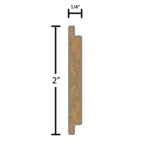 "Side View of Decorative Carved Molding, product number DC-200-008-5-WA - 1/4"" x 2"" Walnut Decorative Carved Molding - $12.36/ft sold by American Wood Moldings"