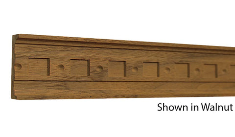 "Profile view of a decorative walnut carved molding, product number WADC130 3/8""x1-13/16"" Walnut $11.20/ft. sold by American Wood Moldings"