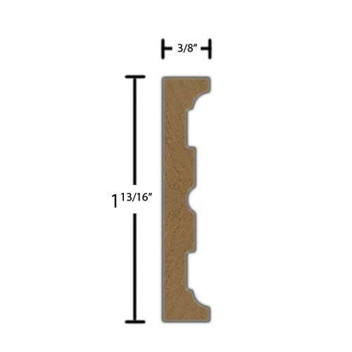 "Side View of Decorative Carved Molding, product number DC-126-012-1-WA - 3/8"" x 1-13/16"" Walnut Decorative Carved Molding - $11.20/ft sold by American Wood Moldings"
