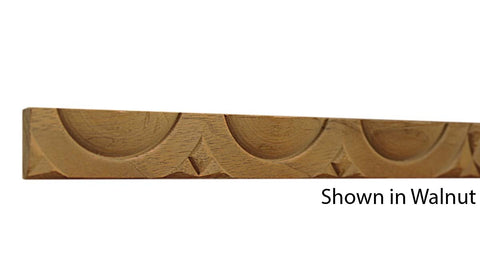 "Profile view of a decorative walnut carved molding, product number WADC135 5/16""x3/4"" Walnut $4.64/ft. sold by American Wood Moldings"