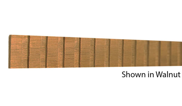 "Profile view of a decorative walnut dentil molding, product number WADD105 1/8""x1"" Walnut $3.60/ft. sold by American Wood Moldings"